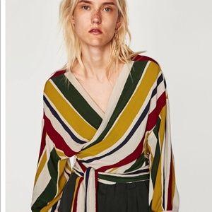 Zara Stripe Wrap Crossover Top